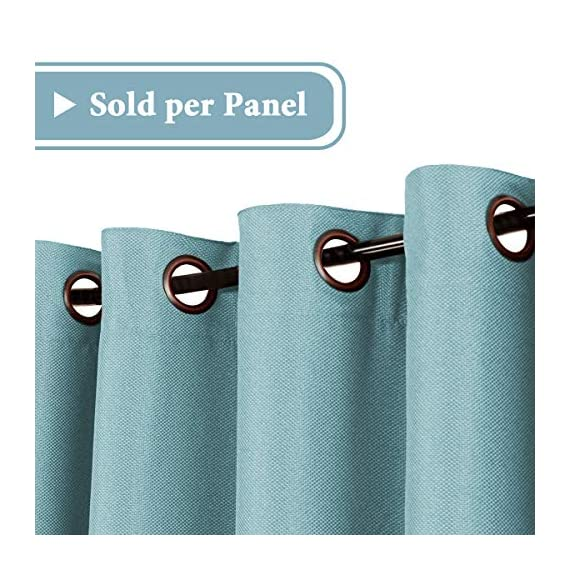 H.VERSAILTEX Linen Curtains Room Darkening Light Blocking Thermal Insulated Heavy Weight Textured Rich Linen Burlap Curtains for Bedroom/Living Room Curtain, 52 by 108 Inch - Eggshell Blue (1 Panel) - STANDARD SIZE: Sold per single panel in package, panel measures 52 inches wide by 108 inches long, each faux linen curtain panel has 8 gorgeous copper metal grommets, inner rim of grommet is 1 5/8 inch which fit the rod up to 1 1/2 inch, slides smoothly back and forth LIGHT BLOCKING: This elegant window panel is crafted from rich faux linen textured fabric, inner woven construction features natural blackout effect, definitely block out 85% or more sun light and prevent harmful UV ray, this opaque piece totally darken your room, reduce the noise and gives you 100% privacy ENERGY EFFICIENT: This magic window covering is perfect on thermal insulated, energy saving and balance the temperature. Efficiently prevents cold or heat transfer from outside, blocks drafts in cold months and keeps warm air out in the summer. Great for letting you sleep sweetly on weekend mornings and vacation days - living-room-soft-furnishings, living-room, draperies-curtains-shades - 51ze7VwjbWL. SS570  -