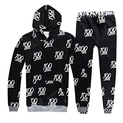 2019 Men's Jogging Tracksuit Print Sportswear Casual Joggers Set Hoodie Sweatshirt+Jogger Sweatpants by-Leegor