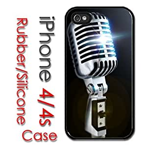 iPhone 4 4S Rubber Silicone Case - Old School 50's Style Microphone Music by icecream design