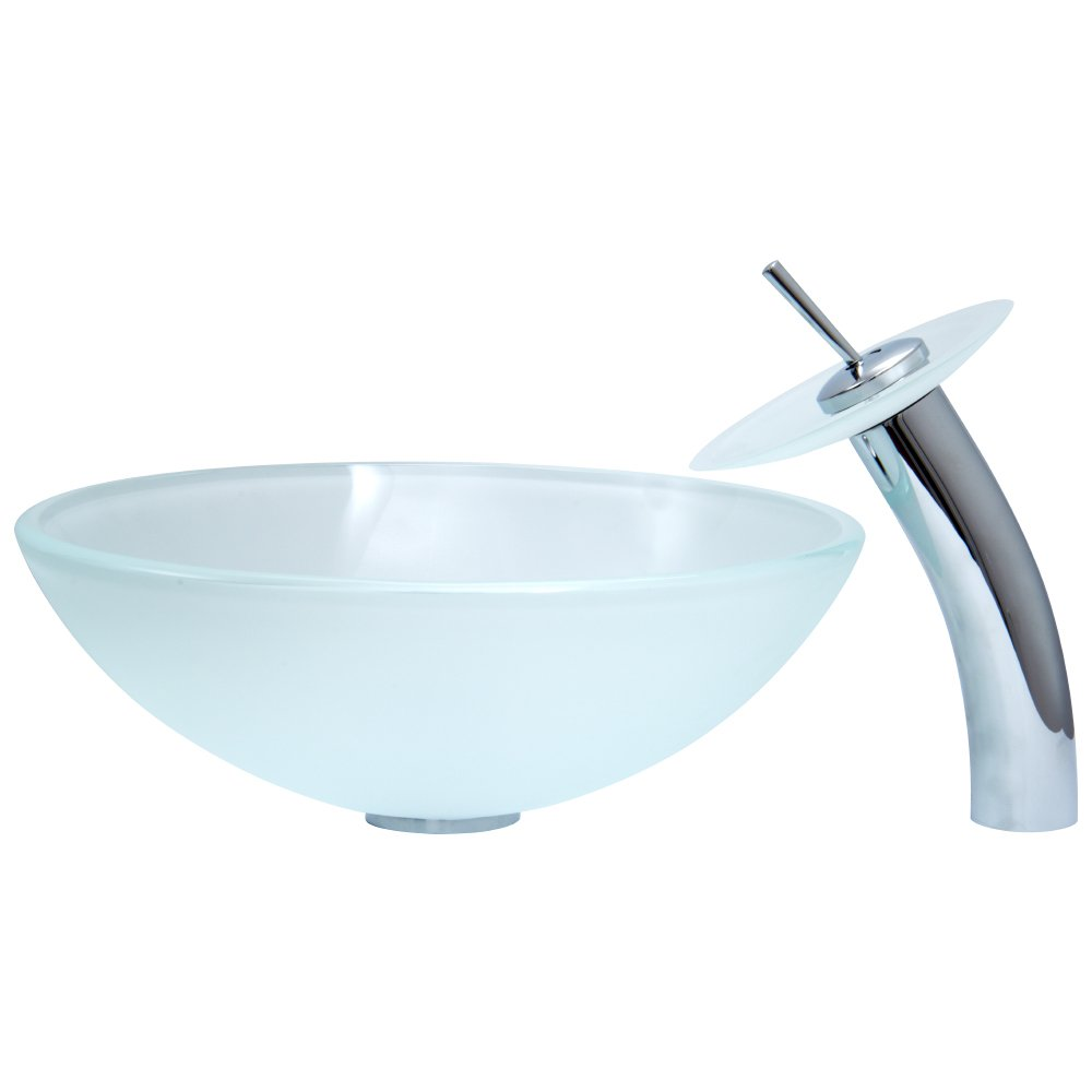 VIGO White Frost Glass Vessel Bathroom Sink and Waterfall Faucet ...