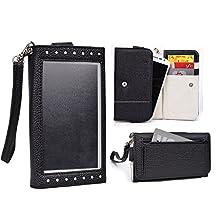 Cooper Cases(TM) Expose Women's Clutch BLU Dash 5.0, Vivo IV/Air/Selfie, Win HD/LTE Smartphone Wallet Case in Black / White (Universal Design, Screen Shield, Credit Card/ID Slots, Pocket)
