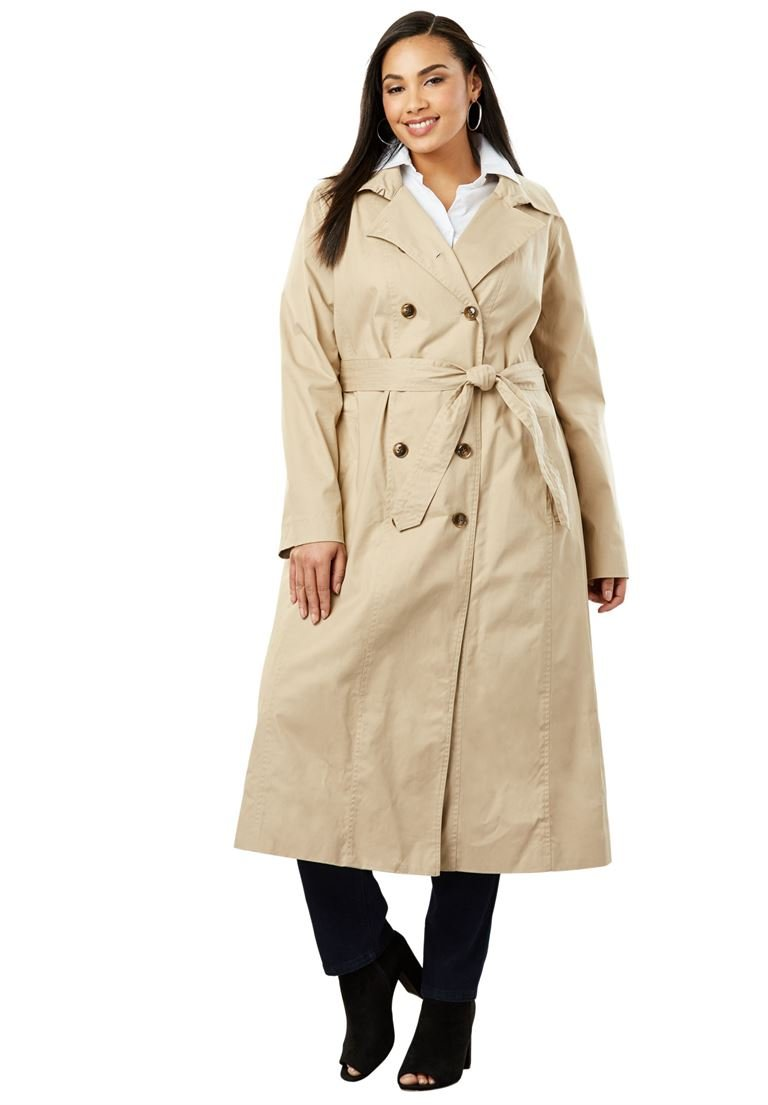 Jessica London Women's Plus Size Double Breasted Long Trench Coat New Khaki,24