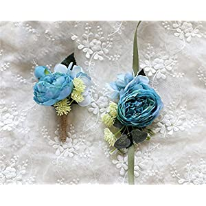 MOJUN Peony Boutonniere ans Corsgae Set Silk Flower with Simulation Succulent Plants for Wedding Party Prom Decor 76