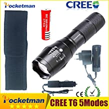 SOLEDI Battery Charger US : CREE XML-T6 3000lm Adjustable Led Flashlight Led Torch Car Charger+Battery Charger+18650 Rechargeable Battery + Holster zk10