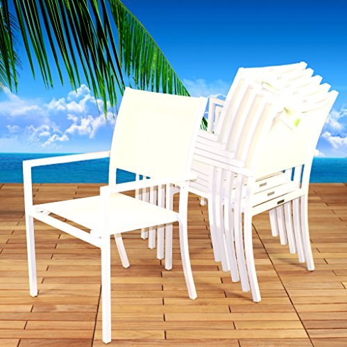 Pure Patio Dining Armchair Set of 6 Stacking Charis in Elegant White Aluminum and White Ferrari Batyline Sling