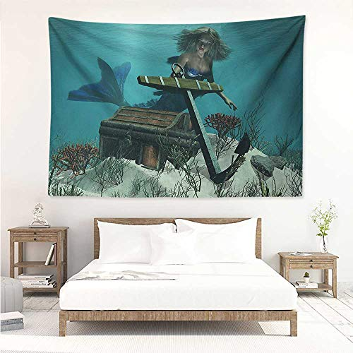 alisos Mermaid,Picnic Blanket Wall Mermaid in Ocean Sea Discovering Pirates Treasure Chest Mythical Art Print 93W x 70L Inch Printed Nature Wall Tapestry Azure Brown Cream