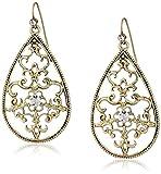 1928 Jewelry Filigree Pear Shape Drop Earrings