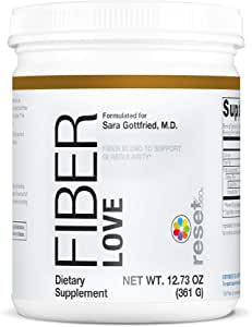 Reset360 Fiber Love | Daily Fiber Powder Supplement, Supports Bowel Regularity, Mix & Drink, 38 Servings