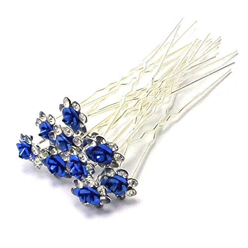 l Wedding Prom Silver Crystal Diamante Rose Flower Hair Pins Clips Grips (Blue) by Bride Boutique ()