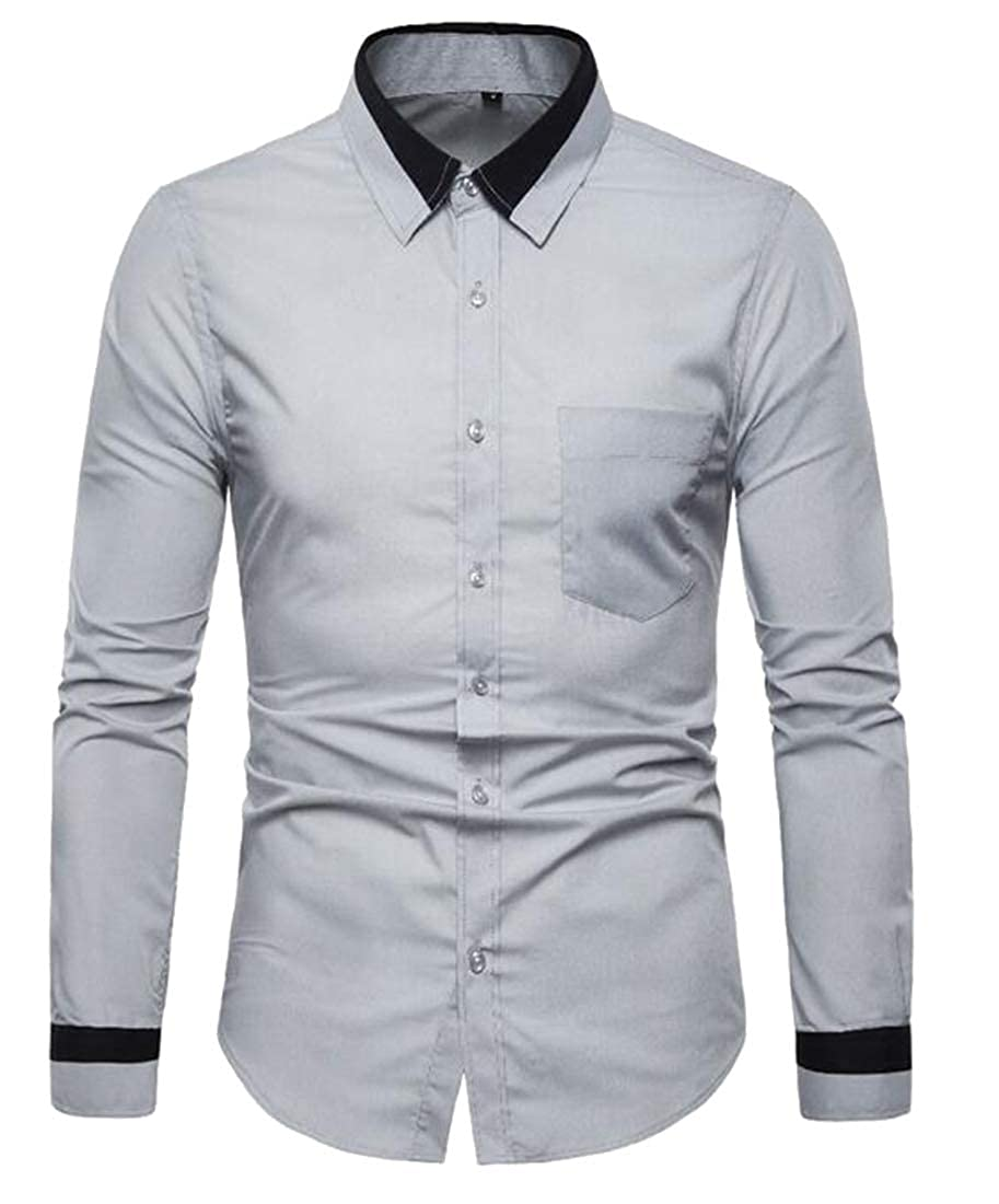 Domple Mens Slim Fit Long Sleeve Contrast Casual Business Button Down Dress Work Shirt