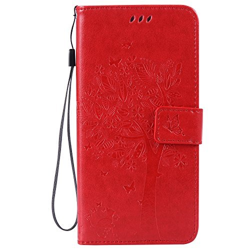 IKASEFU Pu Leather Butterfly Tree Cat Design Vintage/Retro Wallet Flip Strap Protective Case Cover with Stand and Card Holder for iPhone 6 Plus/6S Plus 5.5