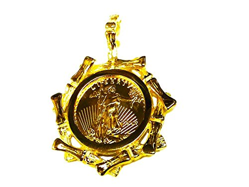 22Kt Fine Gold 1/10 Oz Lady Liberty Coin In 14K Yellow Gold Bamboo Frame Pendant ()