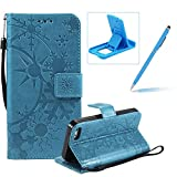 Strap Leather Case for iPhone 5C,Wallet Leather Case for iPhone 5C,Herzzer Premium Stylish Creative Blue Art Painted Magnetic Bookstyle Flip Portable Stand Case with Soft Rubber Card Holder Slots