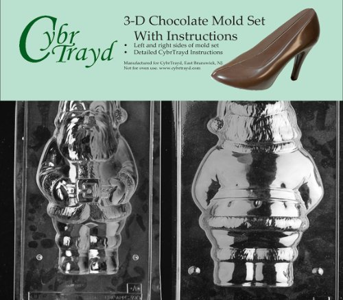 Cybrtrayd C300AB Large Santa Life of the Party Chocolate Candy Mold Bundle with 2 Molds and Exclusive Cybrtrayd Copyrighted 3D Chocolate Molding Instruction (Candy Mold Santa)