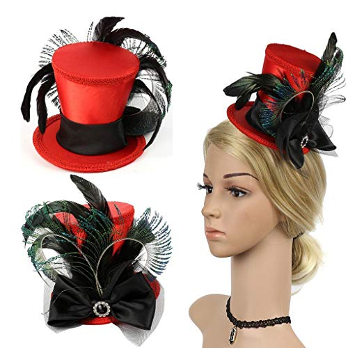 (Black Feather Red Mini Top Hat Bow Hair Clip Women Ladies Fascinator Party)