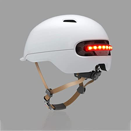 Never-hu Inteligente LED de Advertencia Flash Casco para Montar para Xiaomi M365 Scooter eléctrico y Otras Bicicletas eléctricas o Motocicletas ...