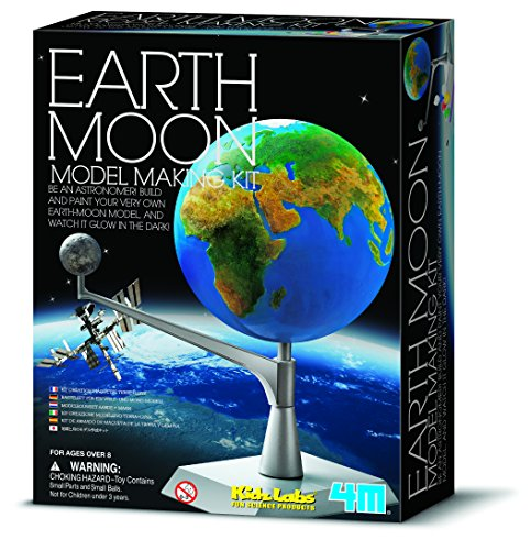 4M Kidzlabs Earth & Moon Model Kit - STEM Toys Science Lab DIY Orbit Planetarium Educational Gift