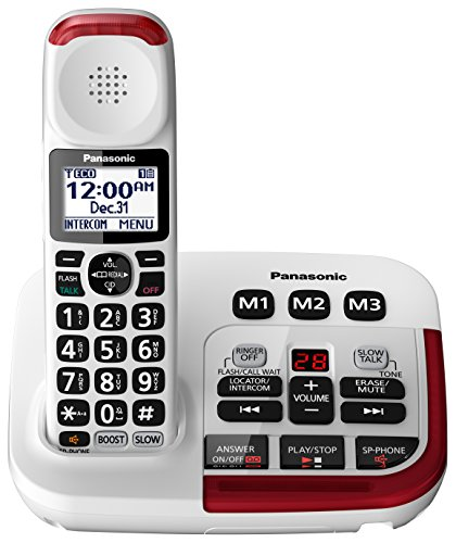 Panasonic Amplified Cordless Phone KX-TGM420W with Enhanced Noise Reduction and Digital Answering Machine - 1 Handset (White) (Hard New Phone)