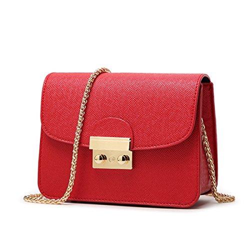 Frauen Mini Umhängetasche Pu-leder Kleine Handtasche Mit Kette Schultergurt Handytasche Umhängetasche (10 Farben) Red