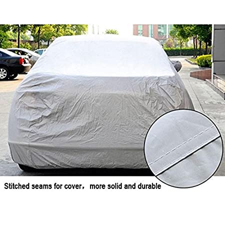 MeterMall Universal UV Waterproof Full Car Cover Outdoor Auto Sun Protection Covers Silver Gray XXL