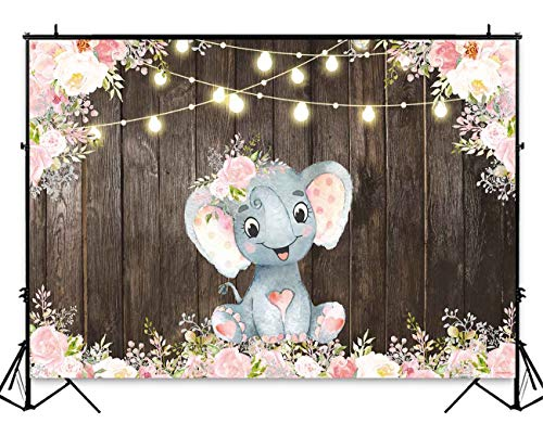 Funnytree 7x5ft Rustic Wood Floral Elephant Party Backdrop