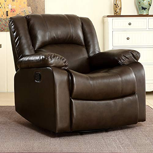 (Attractive, Stylish, Elegant Bonded Faux Leather Rocker and Swivel Recliner Chair Glider Living Room - Brown)