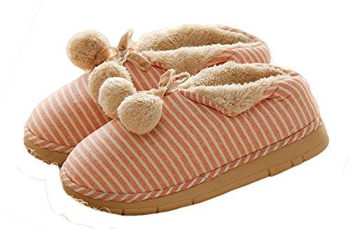 Auspicious beginning Unisex-Adult Couples Warm Ankle Cotton Stripe House Slipper Pink G7Jyw