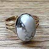 Howlite Ring 07 Silver Adjustable