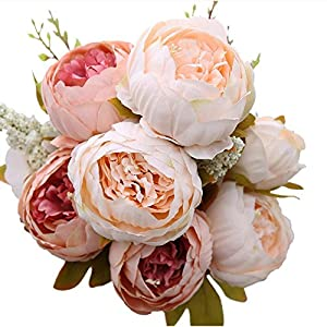 Veryhome Artificial Silk Peony Bouquets Wedding Home Decoration,Pack of 1 11