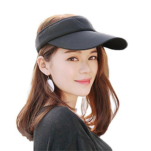 V Protection Visor Sun Hat With Adjustable Velcro Strap Open-Top Peaked Flat Hat (Black) (Le Top Sun Hat)