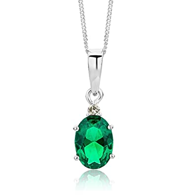 Miore Ladies 9kt White Gold Emerald Necklace of Length 45cm 4cjs3FVZ