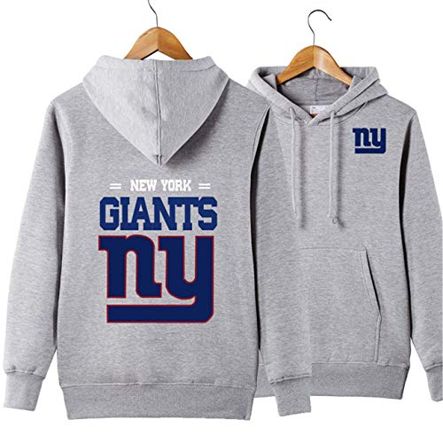 Men's Long Sleeve Hooded Letters Print New York Giants Solid Color Pullover Hoodies(S,Grey)