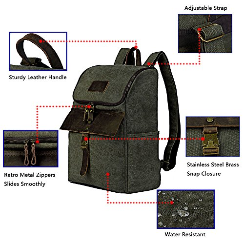Outdoor Hiking Backpack, Men's Water Resistant Backpacks Specially High Density Thick Canvas Fabric Cotton Genuine Leather Rucksack Casual Bookbag by FRFUN (Image #6)