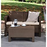 Resin Love Seat with Cushions, All Weather Plastic Patio Furniture Brown Gray Rattan Durable Weatherproof Polypropylene Resin Construction Includes Two Weatherproof Seat Cushions