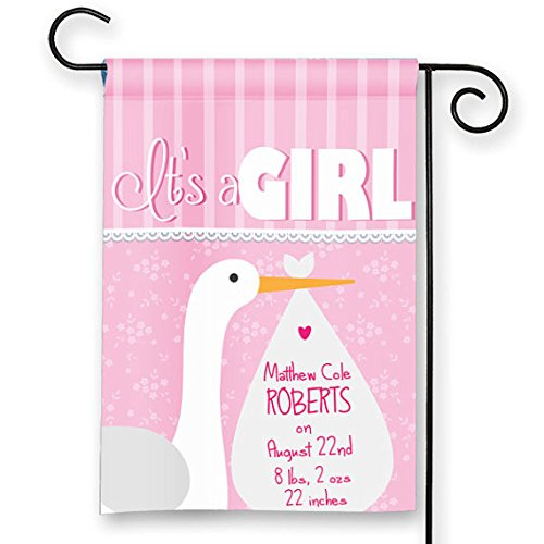 Garden New Yard Banner Sign - It's a Girl Personalized New Baby Stork Announcement Garden Flag Yard Sign Banner Decor Decoration CUSTOMIZE w your Child's Name/ Birth Info