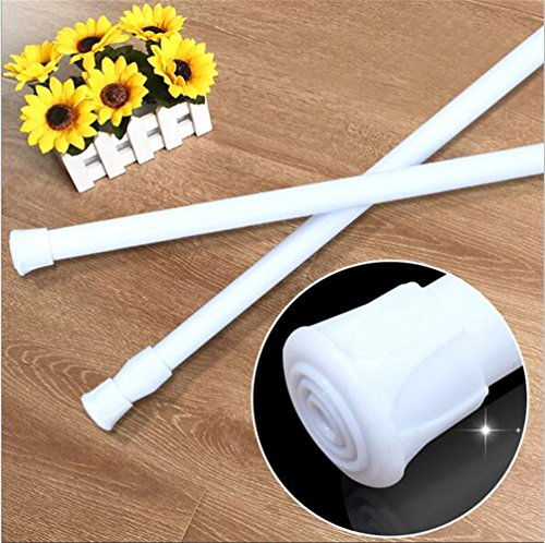 ave split Spring Tension Curtain Rod 1 pcs Stretchable No Need Screw Tool Single Rods Max Load Bearing 4LB (41-74 White)