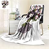 Fleece Blanket 300 GSM Anti-static Super Soft cute girl with flowers children illustration for school books and more t shirt Warm Fuzzy Bed Blanket Couch Blanket(60''x 50'')