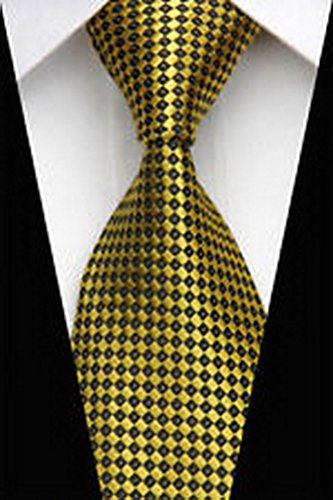 Dan Smatree Business Gold Black Plaid Man Classic JACQUARD Woven Necktie Tie