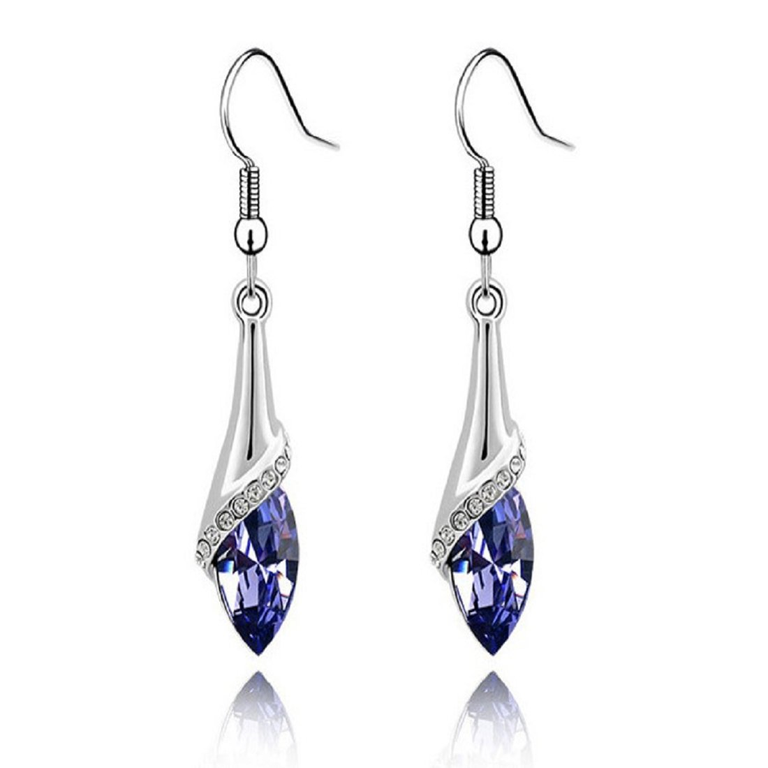 Voberry Fahion Women's Lady Crystal Marquise Cut Teardrop Wedding Hook Earrings Gift (Purple)