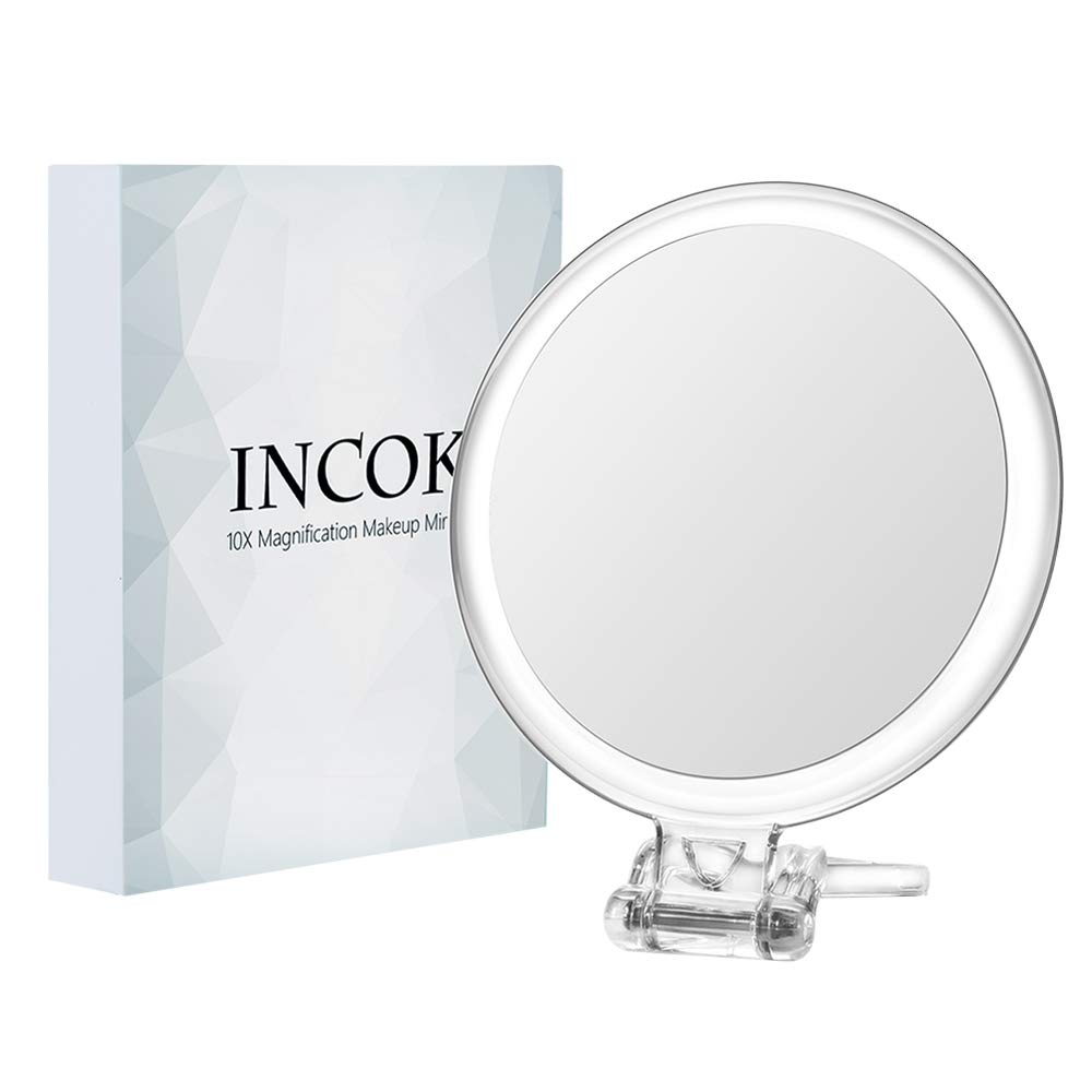 """10X 1X Double Sized Magnifying Makeup Mirror - 5 Inch High Definition Magnification Glass Mirror Adjustable Multi-use Compact Vanity Mirror with (5"""") INCOK"""