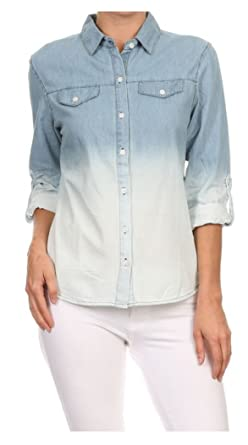 229d2227 Tabeez Women's Casual Distressed Light-Wash Denim Button-Down Shirt Blouse