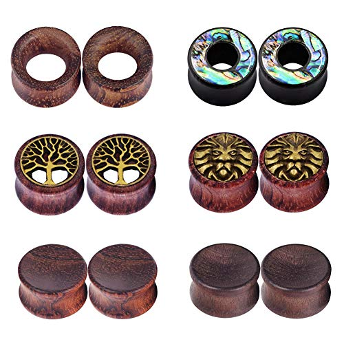 IU Mode 6Pairs Natural Organic Wood Hollow Double Flared Flesh Tunnels Ear Expander 9/16