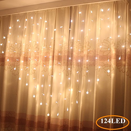 Heart Icicle Lights LED Window Curtain String Lights for Wedding Valentine Day Party Bedroom Indoor Wedding Accessories Decorations Wall -