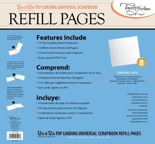 CR Gibson Tapestry STK12-3464 Scrapbook Refill Pages, 12 by 12-Inch by CR. Gibson (Cr Gibson Tapestry Album)