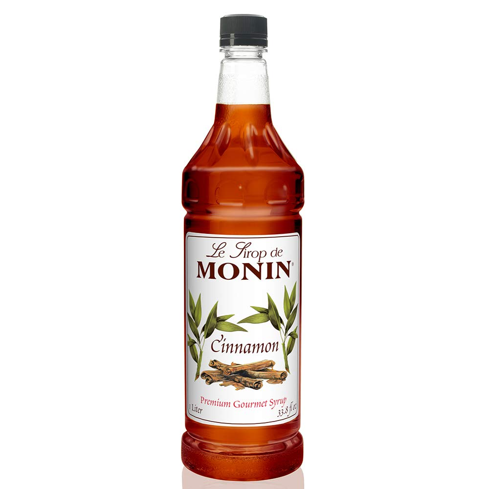 Monin - Cinnamon Syrup, Sweet and Spicy Taste of Cinnamon, Versatile Flavor, Natural Flavors, Great for Coffees, Cocoas, Ciders, and Cocktails, Vegan, Non-GMO, Gluten-Free (1 Liter), 33.81 Fl Oz