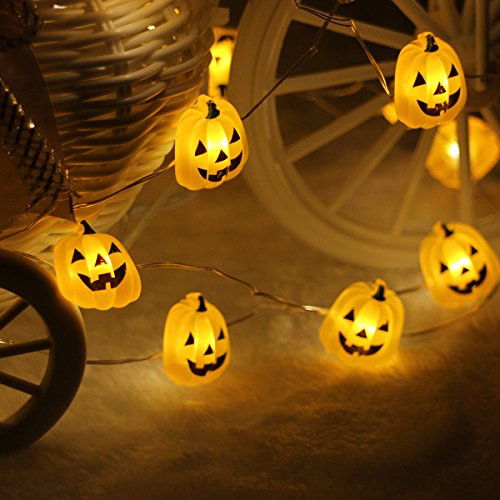 Halloween String Lights, LEORX 3 Meters 40 LEDs Pumpkin Lights with 7 Modes, Battery Operated, Warm White