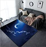 Vanfan Design Home Decorative Eid Mubarak background with moon and stars holy month Ramadan Kareem Elements of this image furnished by NASA Modern Non-Slip Doormats Carpet for Living Dining