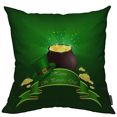 Mugod St. Patrick's Day Decorative Pillow Case Hat Pot with Leprechaun Gold Ribbon Saint Coin Luck Ray Throw Pillow Cover Home Decor Cotton Linen Square Cushion Cover for Couch Bed Sofa 24X24 Inch ()