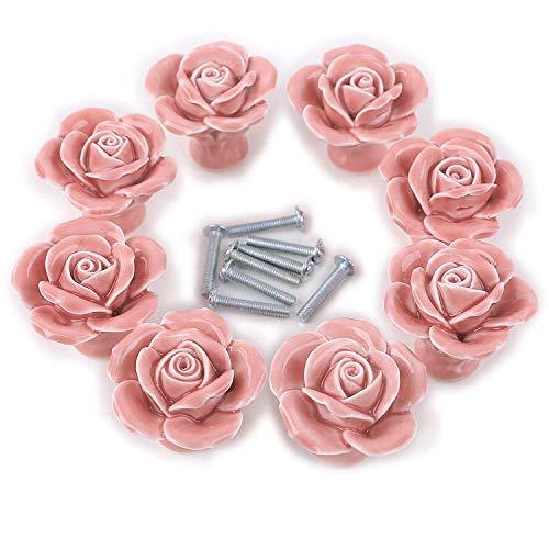 VIPITH 8PCS Ceramic Vintage Floral Rose Door Knobs Handle Drawer Kitchen + Screw (Pink)