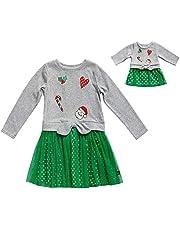 فستان Dollie & Me بناتي مطبوع مع ملابس الدمية المطابقة
